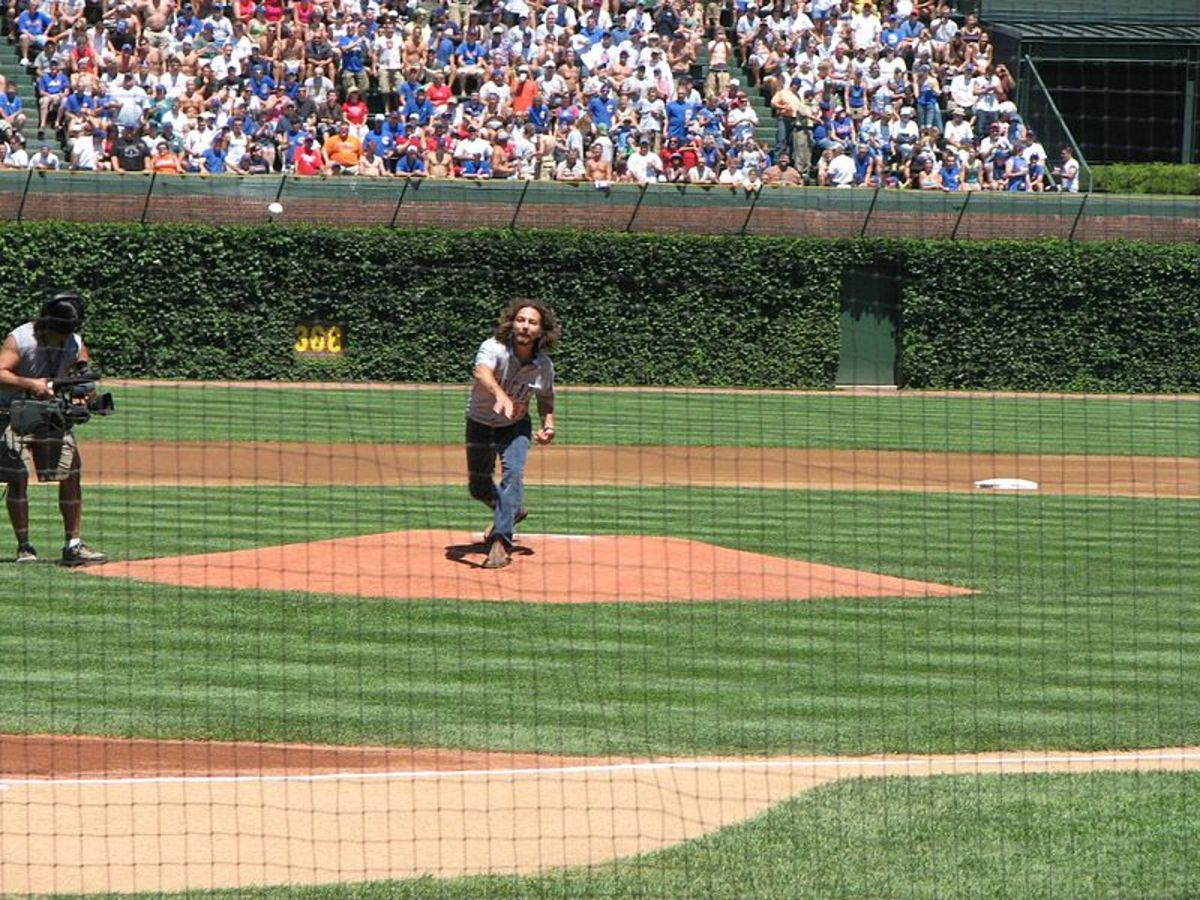 Pearl Jam lead singer and lifelong Cubs fans is throwing out the ceremonial first pitch at Wrigley Field on August 3rd, 2007.