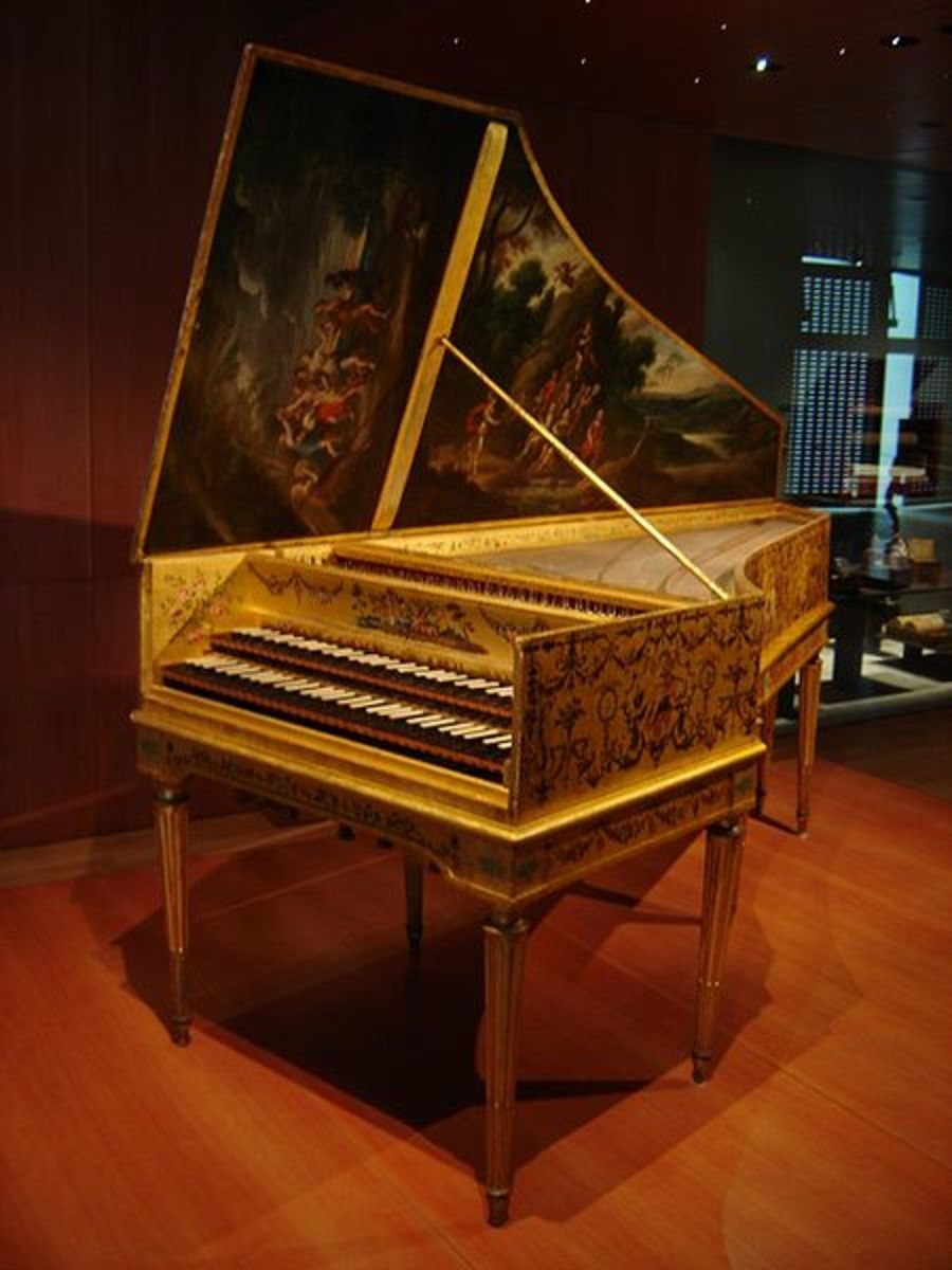 A harpsichord with two manuals (sets of keys), one for softer notes and one for louder notes