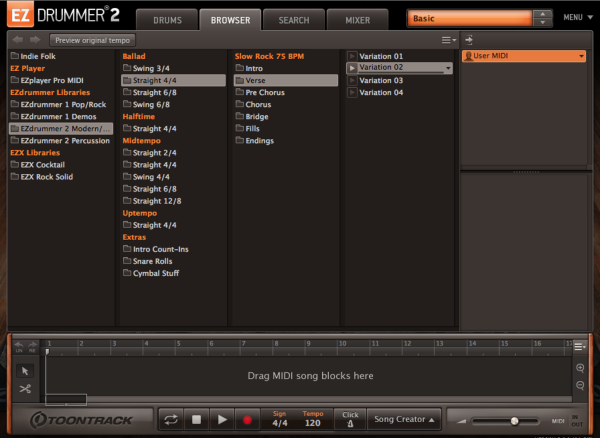 The EZDrummer 2 Groove Browser