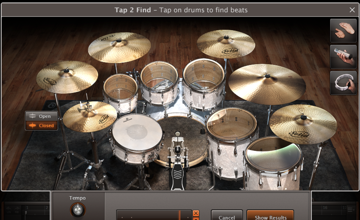Tap 2 Find allows you to search for a groove by creating a template with an interactive drum image