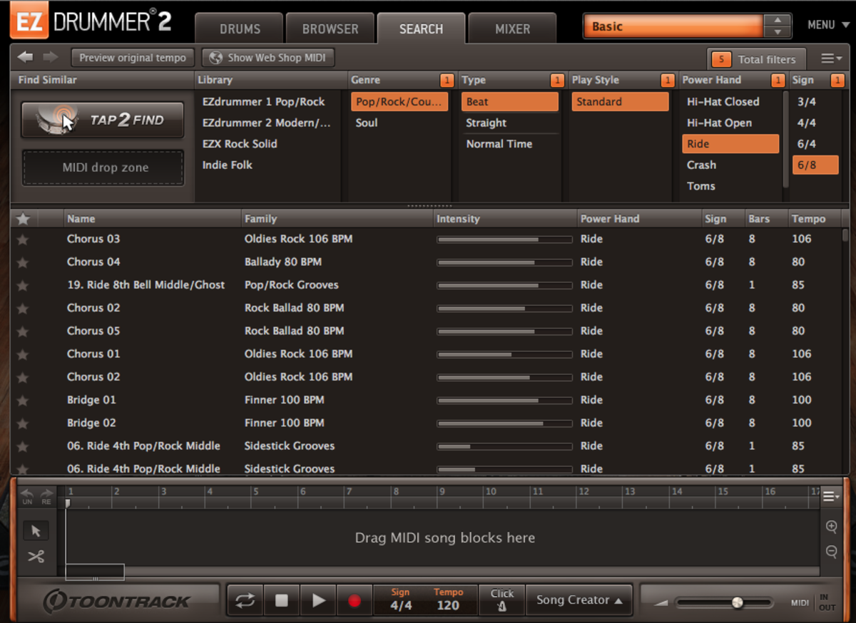 The EZDrummer 2 Search Window