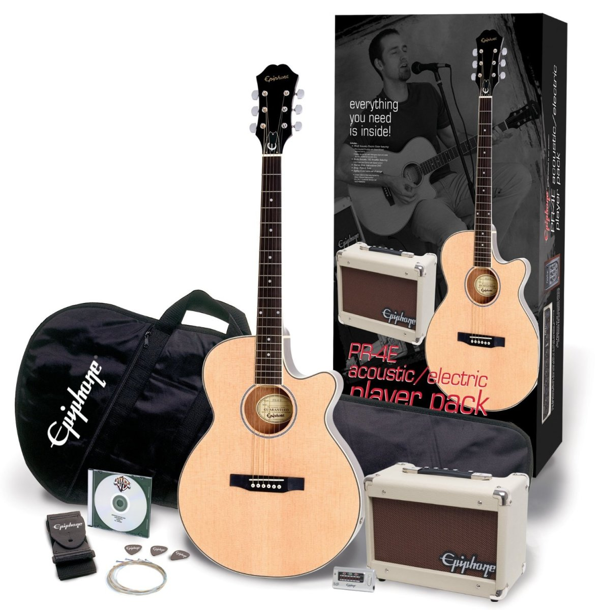 The Epiphone PR-4E Acoustic-Electric Guitar Player Pack