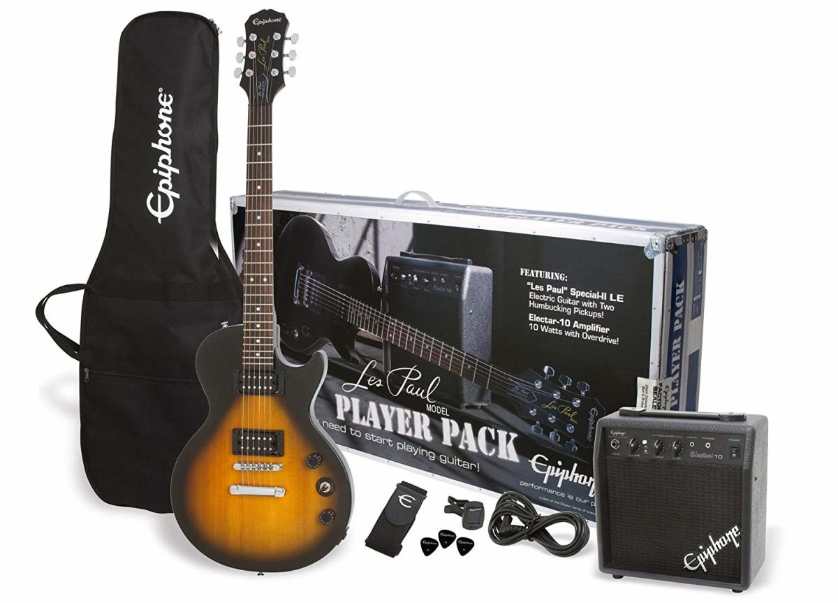 The Epiphone Les Paul Player Pack is my top recommendation for a newbie starting out on electric guitar.