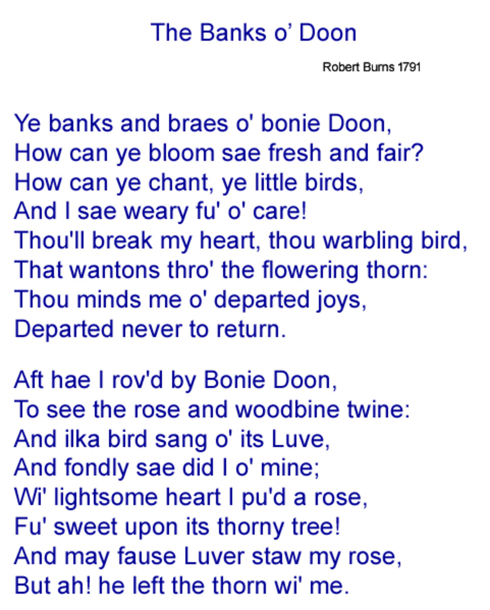 Original Scots language lyrics to The Banks o' Doon