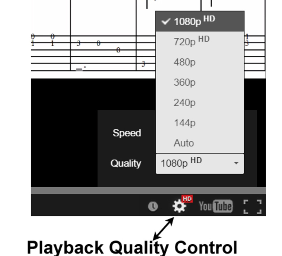 The quality control appears after you click PLAY.