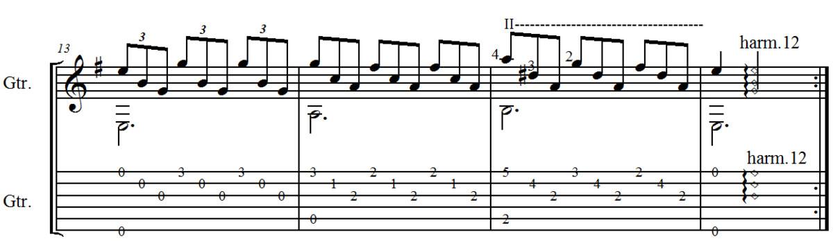 F, Tarrega - Study in E Minor - tab and notation