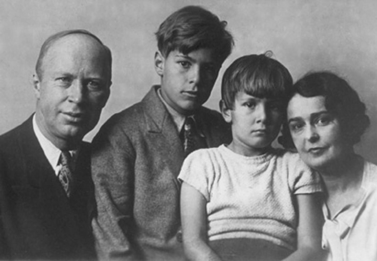 Sergei Prokofiev, his two sons, and his first wife Lina Prokofiev