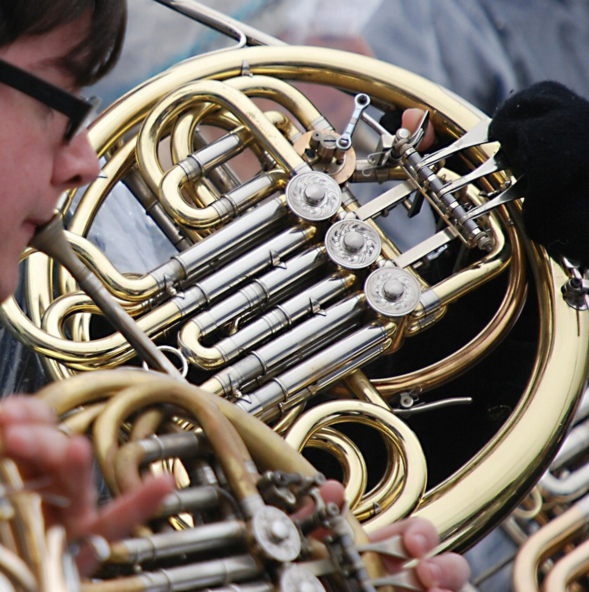 Three French horns represent the wolf in the story of Peter and the Wolf.