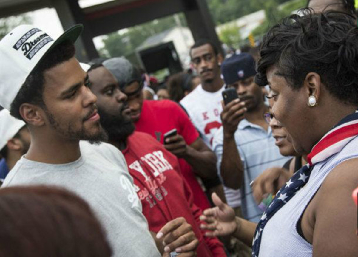 Cole proved that he walks the walk when he visited the protests in Ferguson at their height earlier this year
