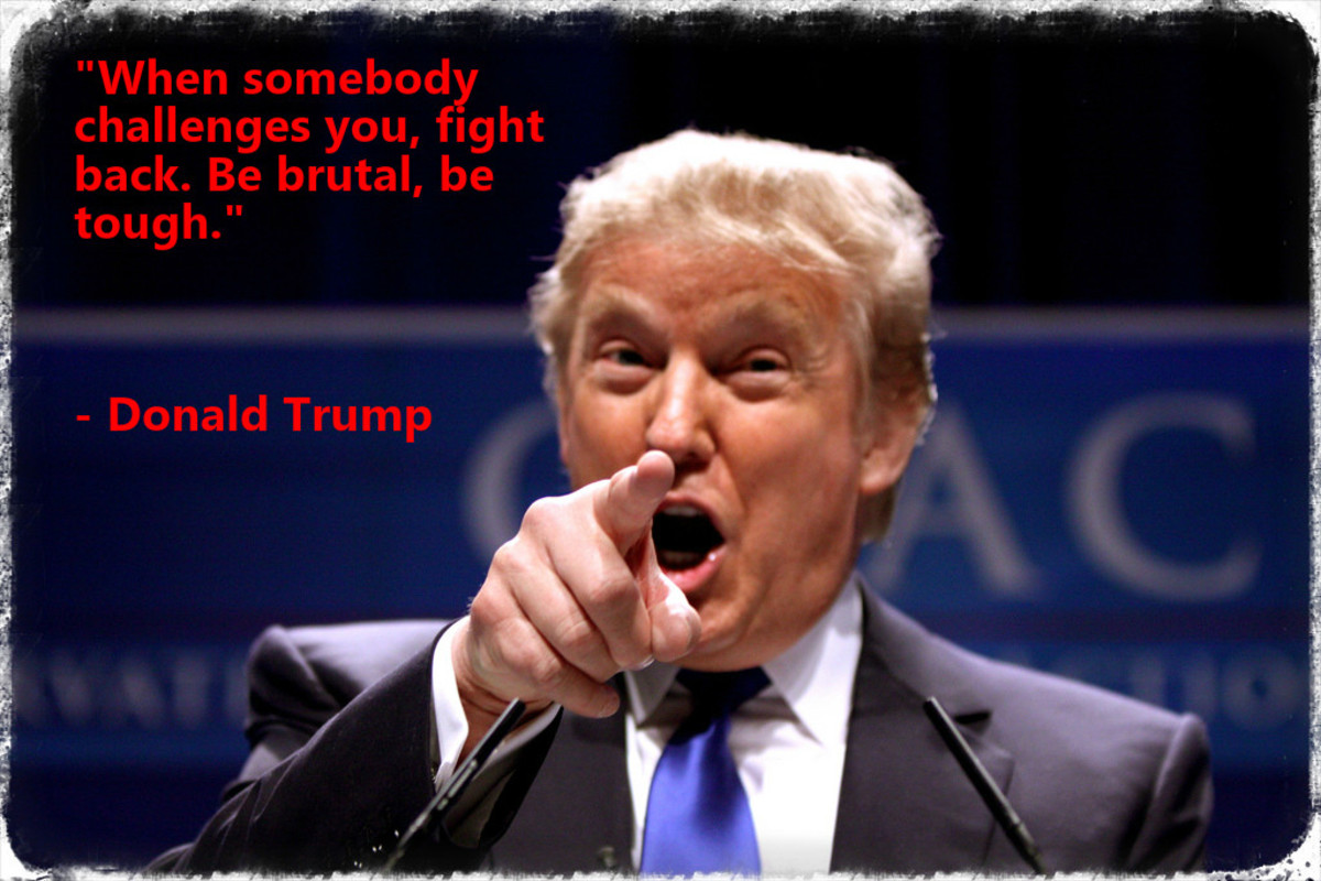 """When somebody challenges you, fight back.  Be brutal, be tough."" - Donald Trump"