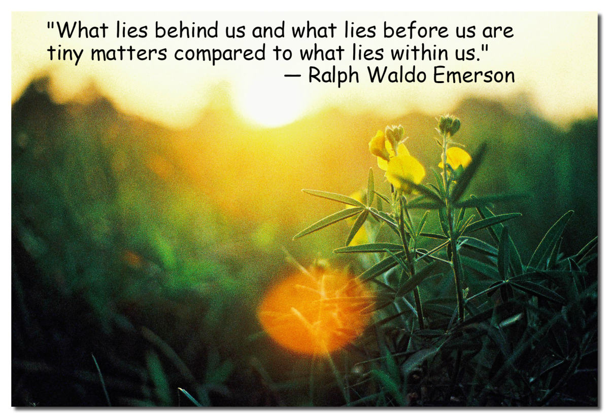 """What lies behind us and what lies before us are tiny matters compared to what lies within us."" - Ralph Waldo Emerson, American writer"