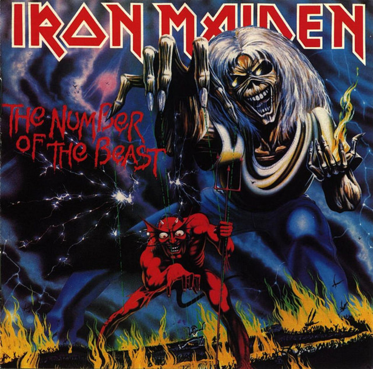 "Iron Maiden ""The Number of the Beast"" Harvest ST-12202 12"" LP Vinyl Record  U.S. Pressing (1982) Album Cover Art by Derek Riggs"