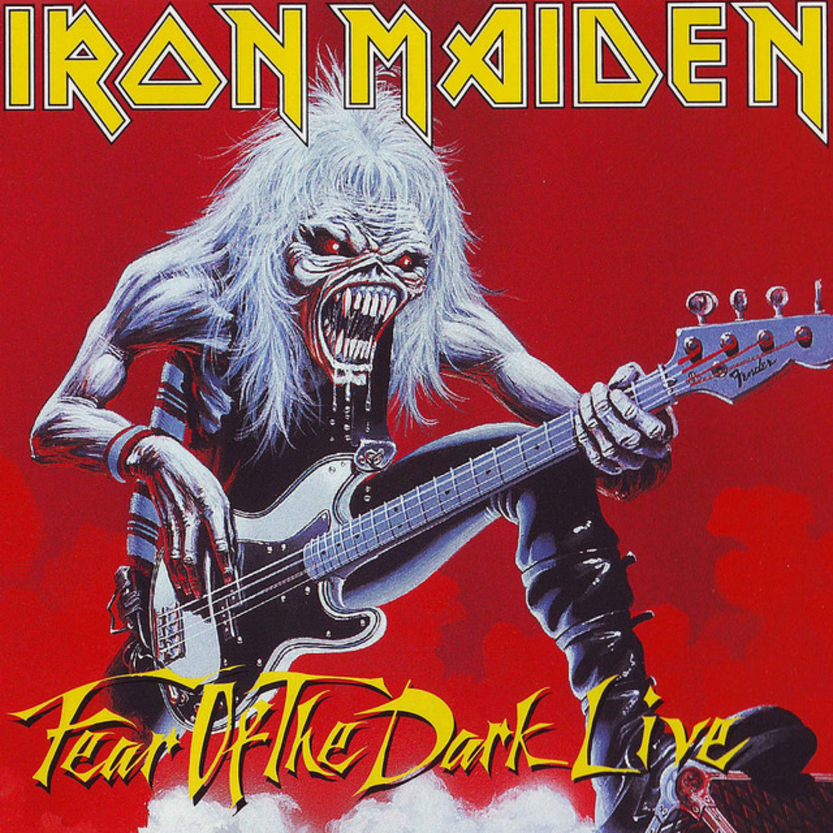 "Iron Maiden ""Fear the Dark"" Live EMI 7243 88050166 12"" Maxi Vinyl Single Italian Pressing (1993) Cover Art by Derek Riggs"