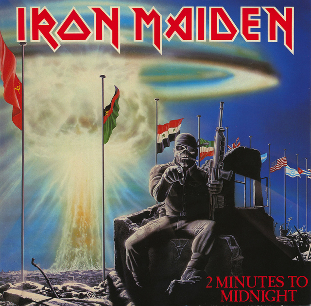 "Iron Maiden ""2 Minutes To Midnight"" EMI 12EMI 5489 12"" Vinyl Single UK Pressing (1984) Cover Art by Derek Riggs"