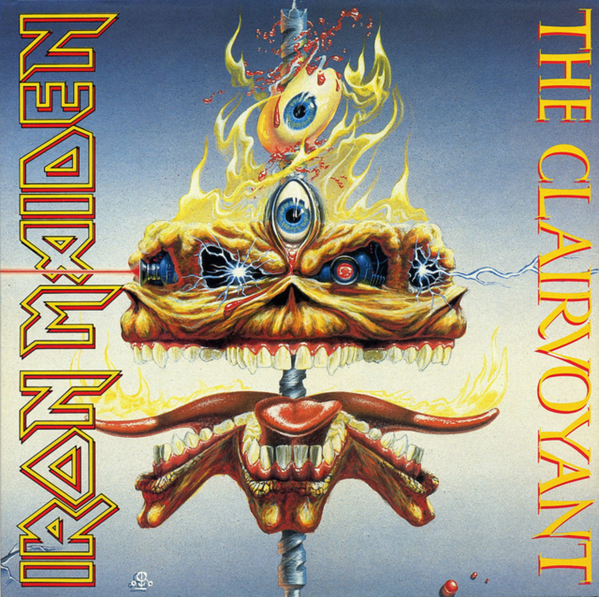 "Iron Maiden ""The Clairvoyant"" EMI 12-EM-79 12"" Vinyl Single UK Pressing (1988) Cover Art by Derek Riggs"