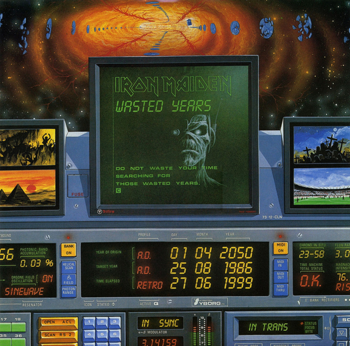 """Iron Maiden """"Wasted Years"""" EMI 12EMI 5583 12"""" Vinyl Single UK Pressing (1986) Cover Art by Derek Riggs"""