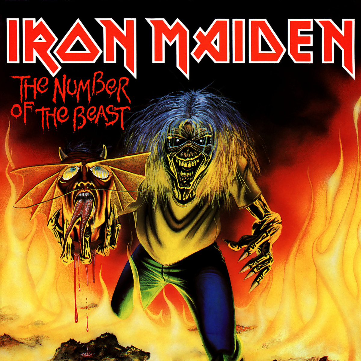 "Iron Maiden ""Number of the Beast"" EMI 5287 7"" Red Vinyl Single UK Pressing (1982) Cover Art by Derek Riggs"