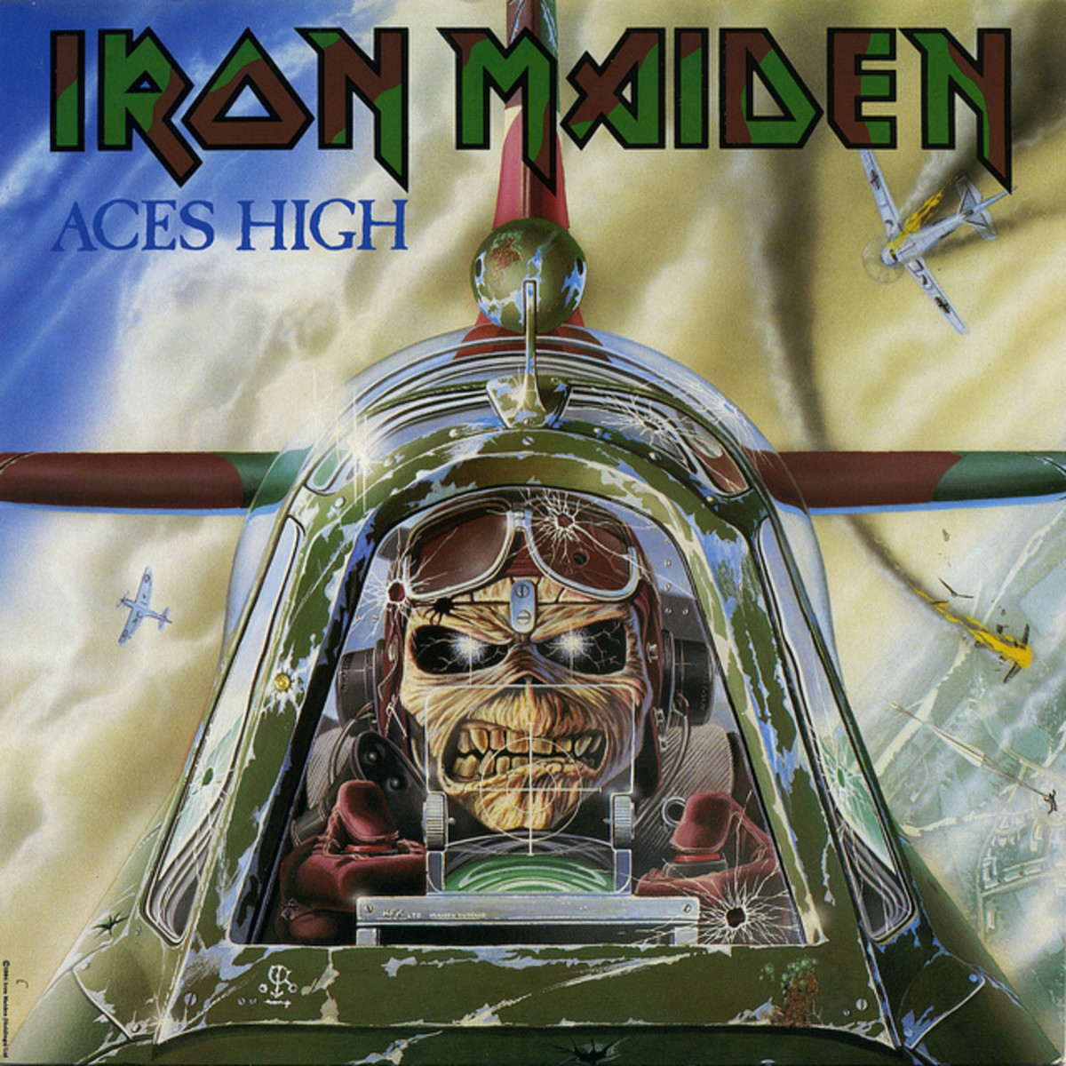 "Iron Maiden ""Aces High"" EMI 12-EMI-5502 12"" Vinyl Maxi-Single UK Pressing (1984) Picture Sleeve Art by Derek Riggs"