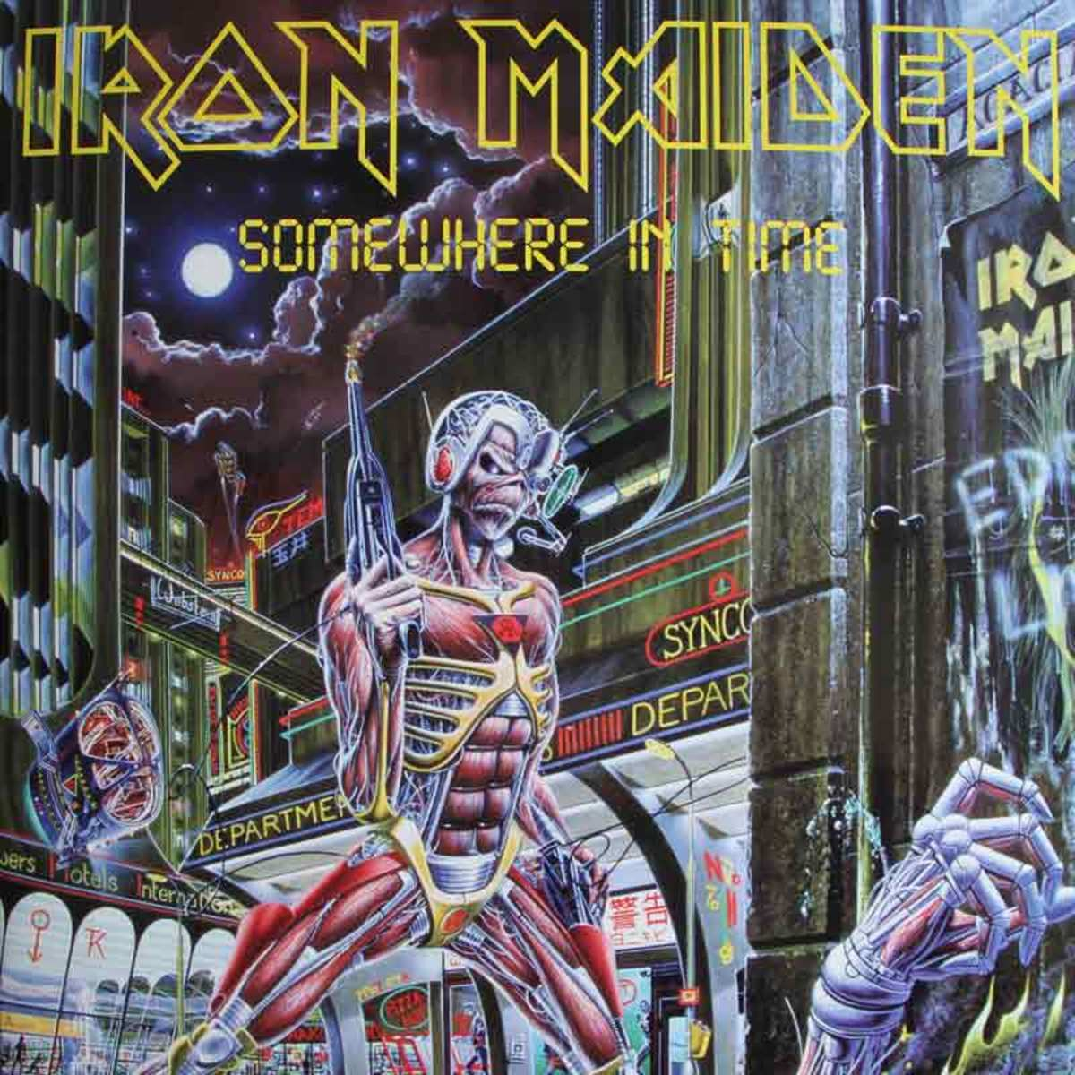 "Iron Maiden ""Somewhere In Time"" Capitol Records SJ-12524 12"" LP Vinyl Record U.S. Pressing (1986) Album Cover Art by Derek Riggs"