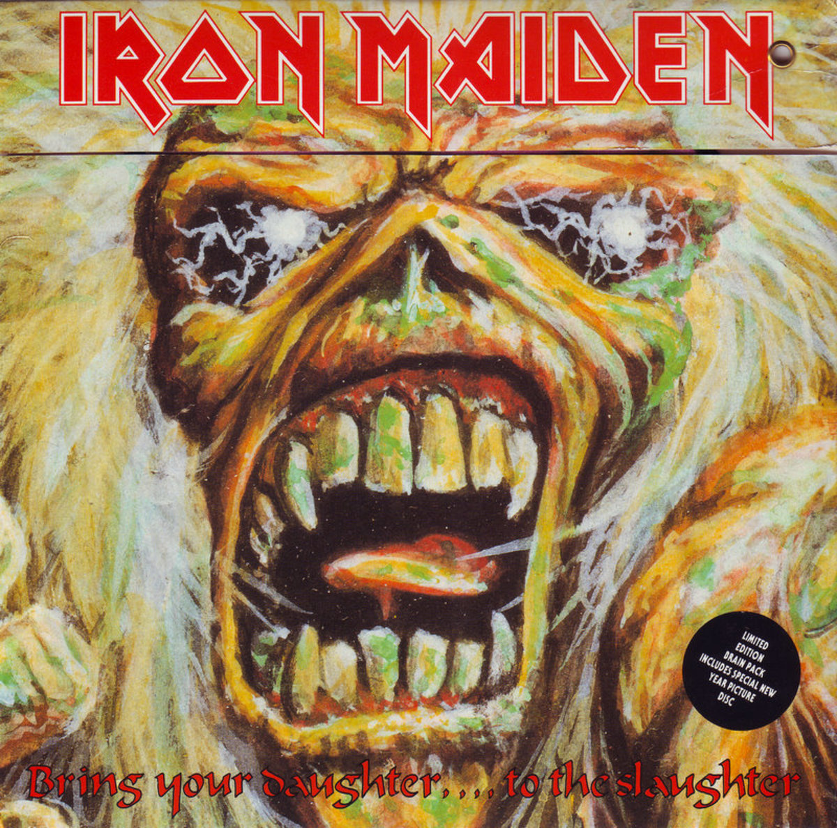 "Iron Maiden ""Bring Your Daughter To the Slaughter"" Brain Pack 7"" Vinyl Single UK Pressing (1990) Plicture Sleeve Cover Art by Derek Riggs"