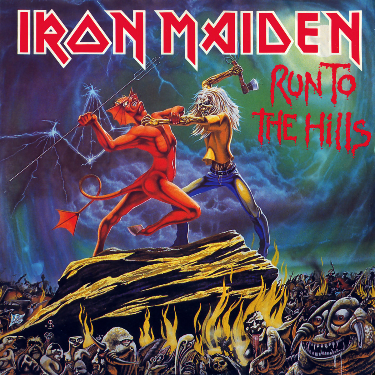 "Iron Maiden ""Run To The Hills"" 1C K 052-07 604 Z  12"" Vinyl Maxi-Single German Pressing (1982) Cover Art by Derek Riggs"