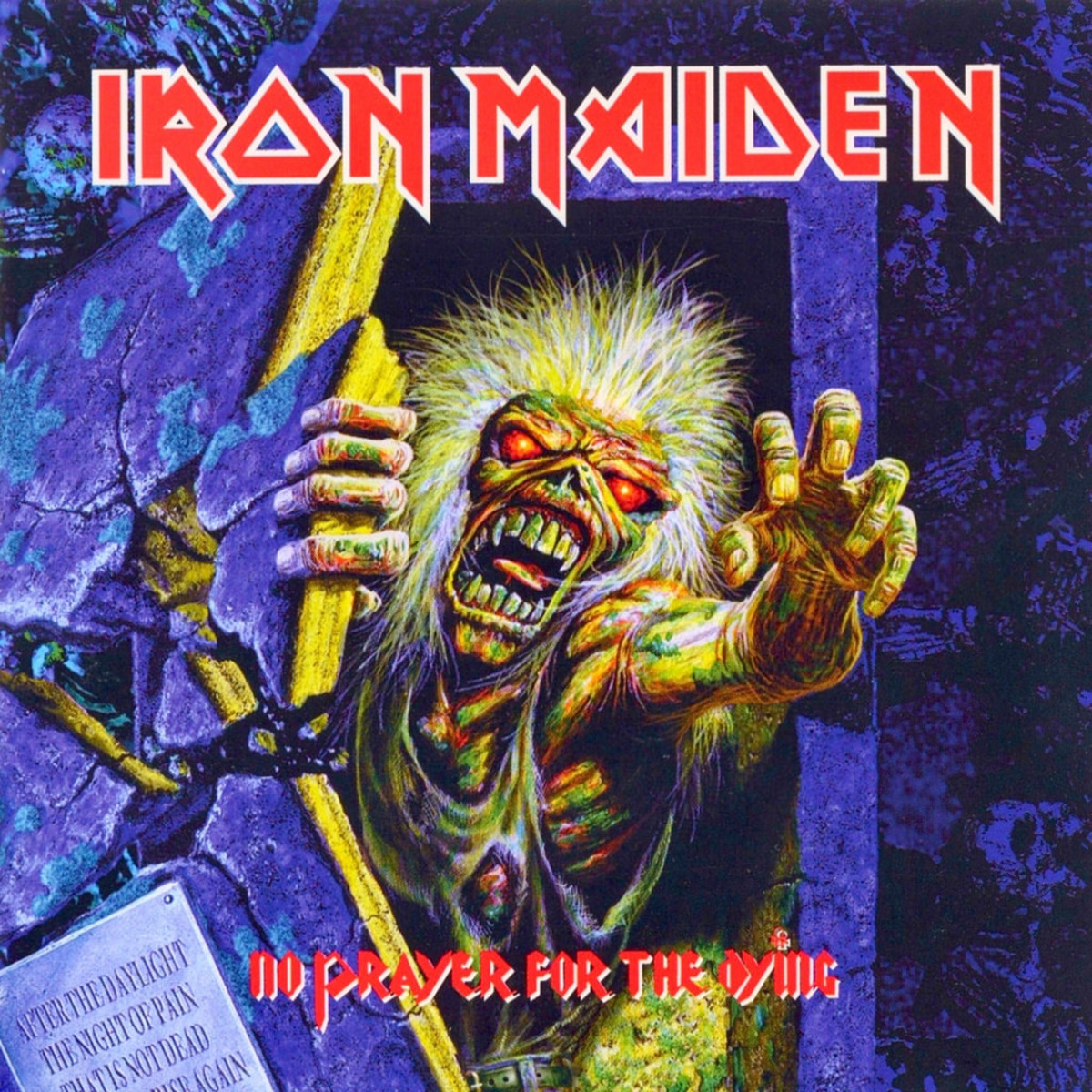 "Iron Maiden ""No Prayer for the Dying"" E 46905  12"" LP Vinyl Record (1998) Album Cover Art by Derek Riggs - Alternate Cover"