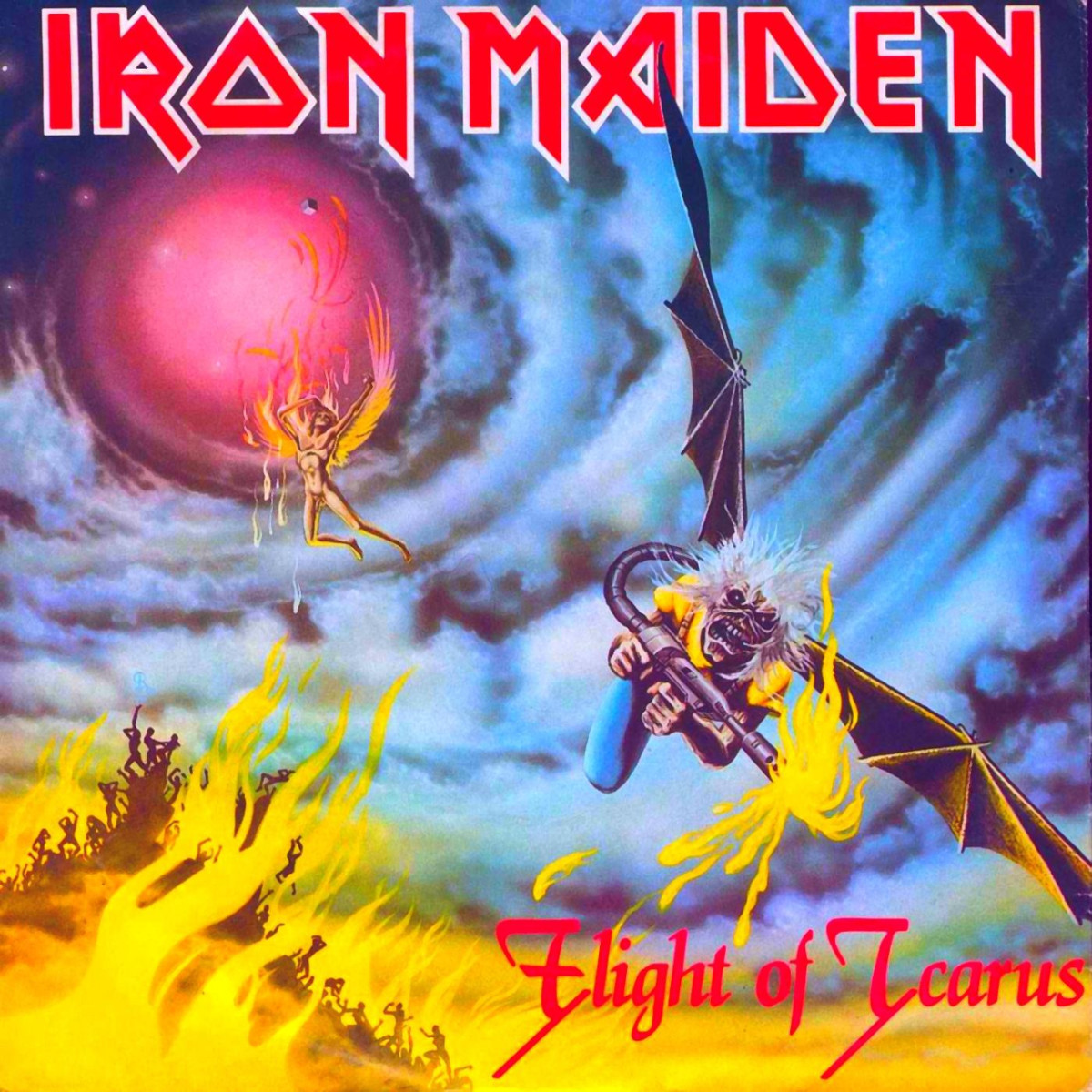 "Iron Maiden ""Flight of Icarus"" EMI 12 EMI P5378 12"" Vinyl Single UK pressing (1983) Picture Sleeve Art by Derek Riggs"