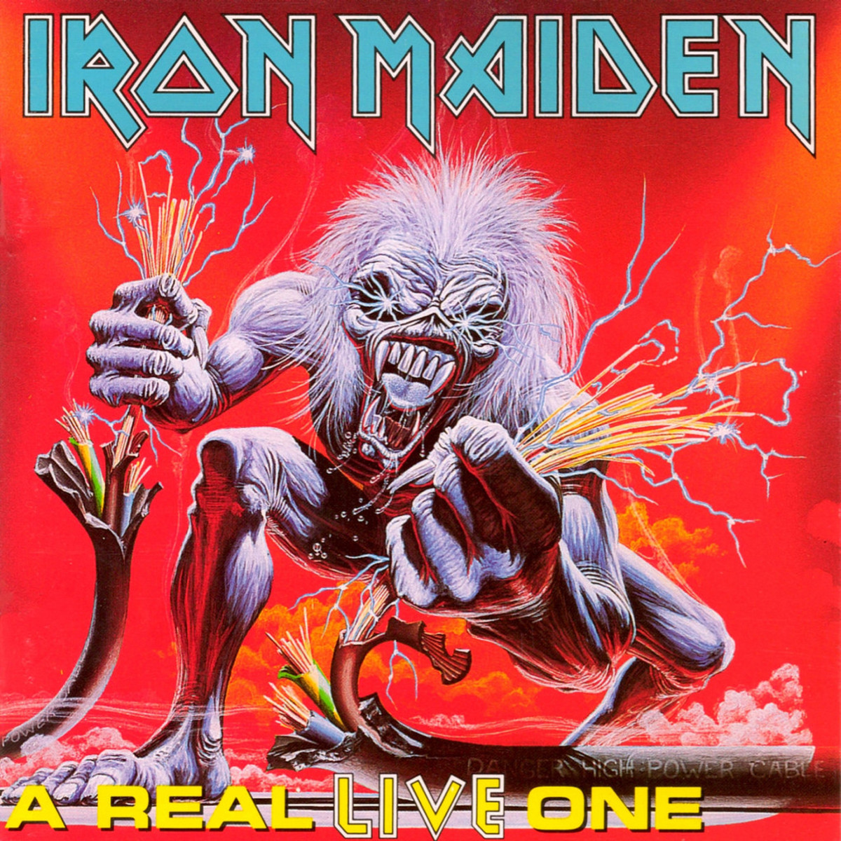 "Iron Maiden ""A Real Live One"" EMI 0777 7 81456 1 5 UK  12"" Vinyl Record (1993) Album Cover Art by Derek Riggs"