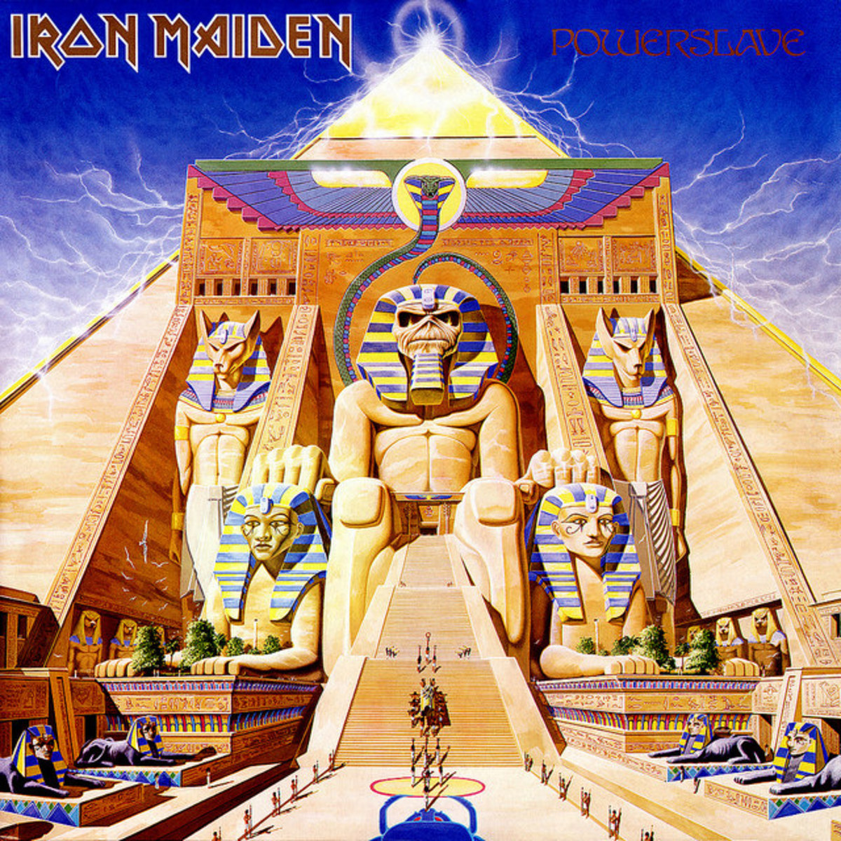 "Iron Maiden ""Powerslave"" Capitol Records SJ-12321  12"" LP Vinyl Records U.S. Pressing (1984) Album Cover Art by Derek Riggs"