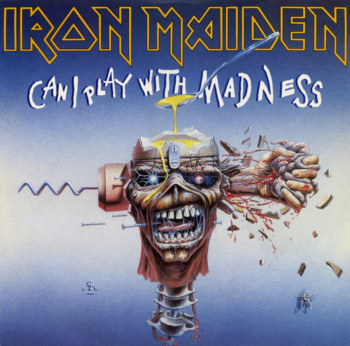 "Iron Maiden ""Can I Play With Madness""  EMI 12EM 4912"" Vinyl Single UK Pressing (1988) Cover Art by Derek Riggs"