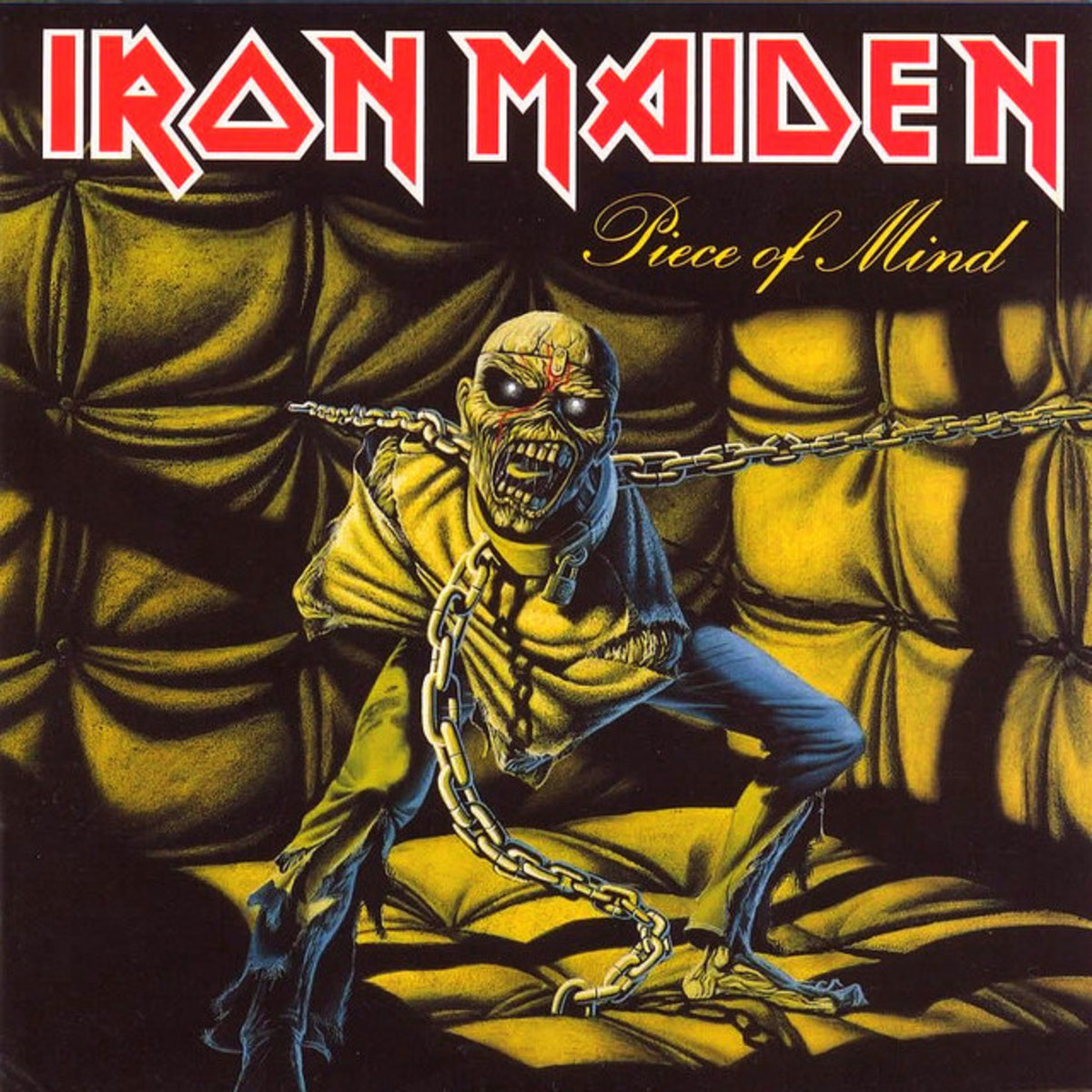 "Iron Maiden ""Piece of Mind"" Capitol Records ST-12274 12"" LP Vinyl Record U.S. Pressing (1983) Album Cover Art by Derek Riggs"