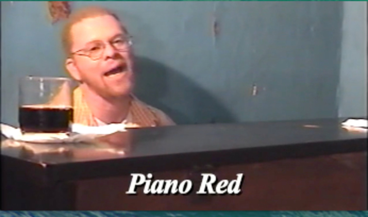 "In the docudrama, ""Take Me Back To Beale"" (Book II), an actor portrays John ""Piano Red"" Williams as he plays at the Gray Mule Saloon on Beale Street."