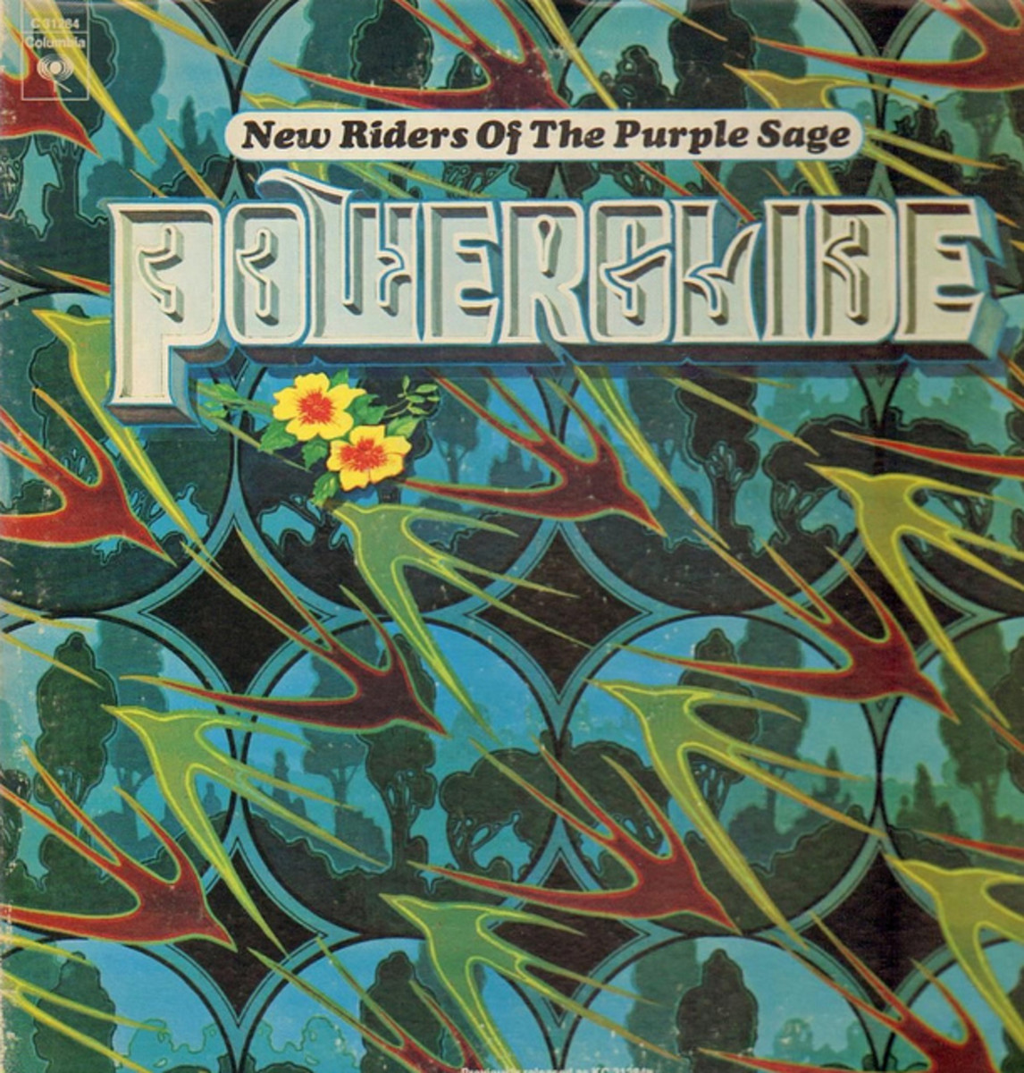 "New Riders of the Purple Sage ""Powerglide"" Columbia Records KC 31284 12"" LP Vinyl Record US Pressing (1972) Album Cover Art by Alton Kelley & Stanley Mouse"