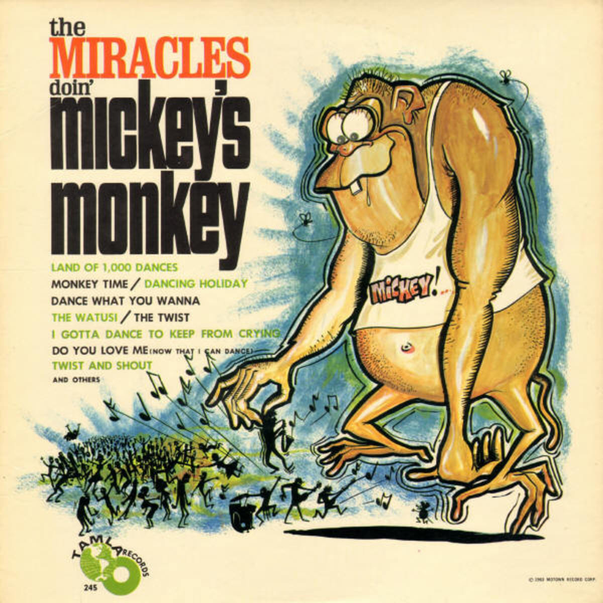 "The Miracles ""Mickeys Monkey"" Tamala Records TM 245 12"" LP Vinyl Record, US Pressing (1963) Album cover Art by Stanley Mouse"
