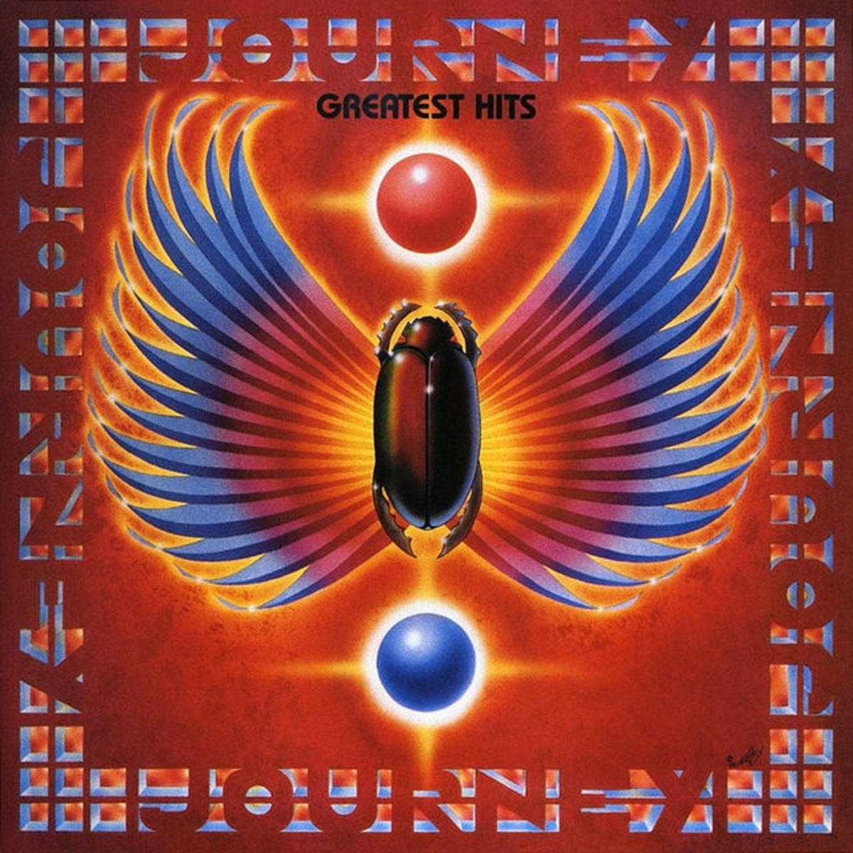 "Journey ""Greatest Hits"" Columbia Records OC 44493 12"" LP Vinyl Record US Pressing (1988) Album Cover Art by Alton Kelley"