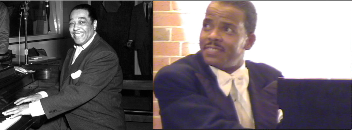 Duke Ellington acted in many movies, often  scoring music for them.  The actor in the right photograph is portraying the legendary composer in the docudrama Take Me Back To Beale (Book II).