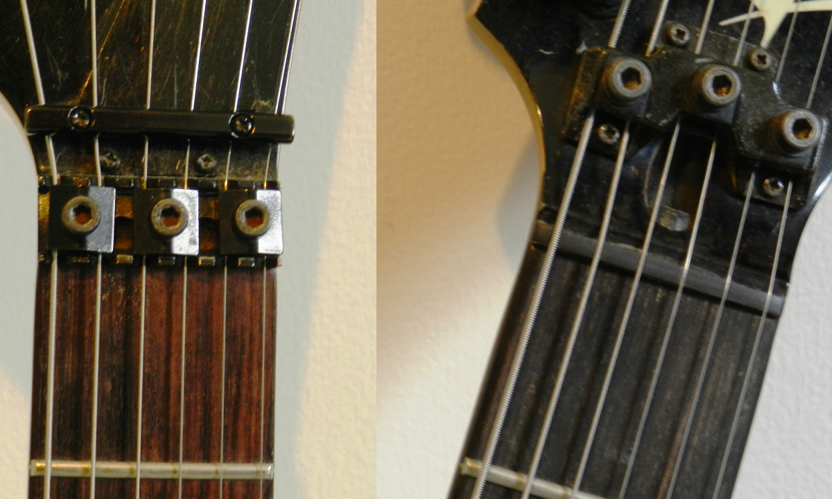 Floyd Rose Locking Nut (left) and '80s-era Ibanez Locking Unit (right)