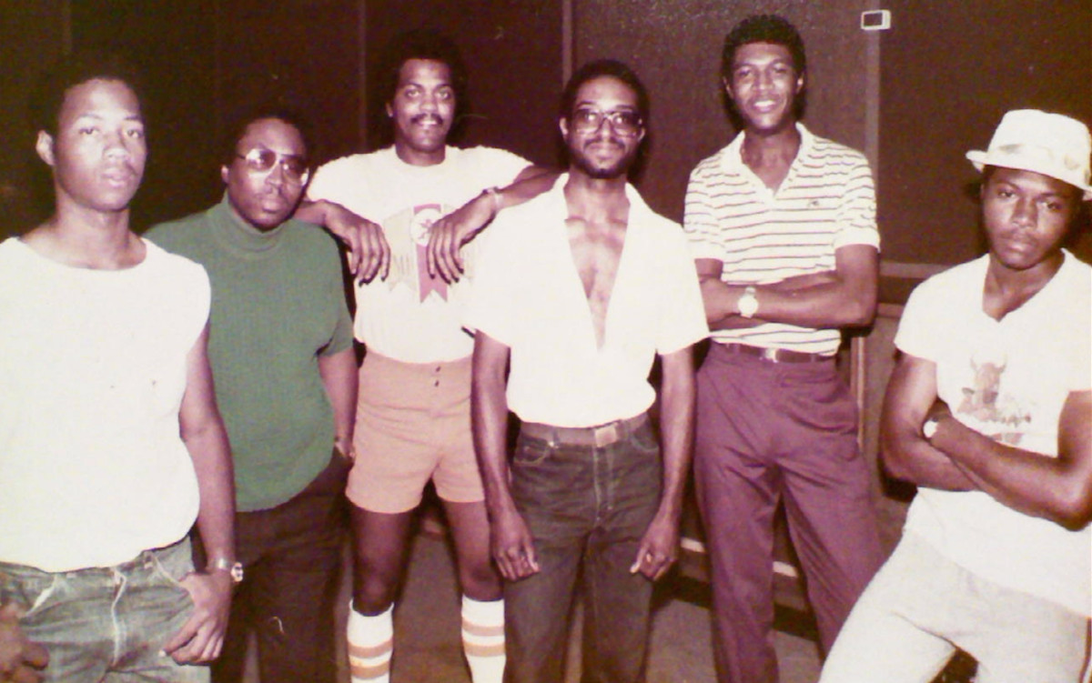 "S.T.A.R.R. had as many as seven members.  Six members are shown here. Left to  right: Darryl Jones, James Bolds, Napoleon Briggs, ""Rob"", James Huffman, and Eddie Craft."