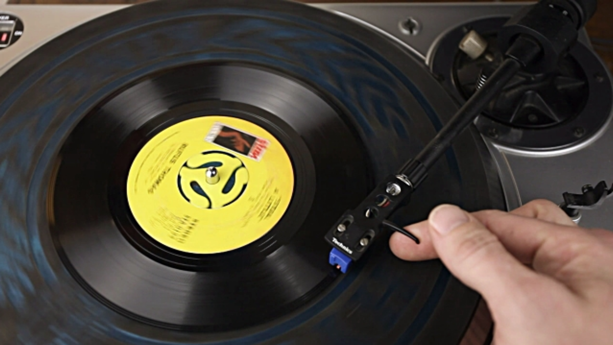 The 45 rpm vinyl record was introduced by RCA in 1949.  The grooved, vinyl disc had to be played on an electronic turntable (record player) at 45 revolutions per minute (rpm)