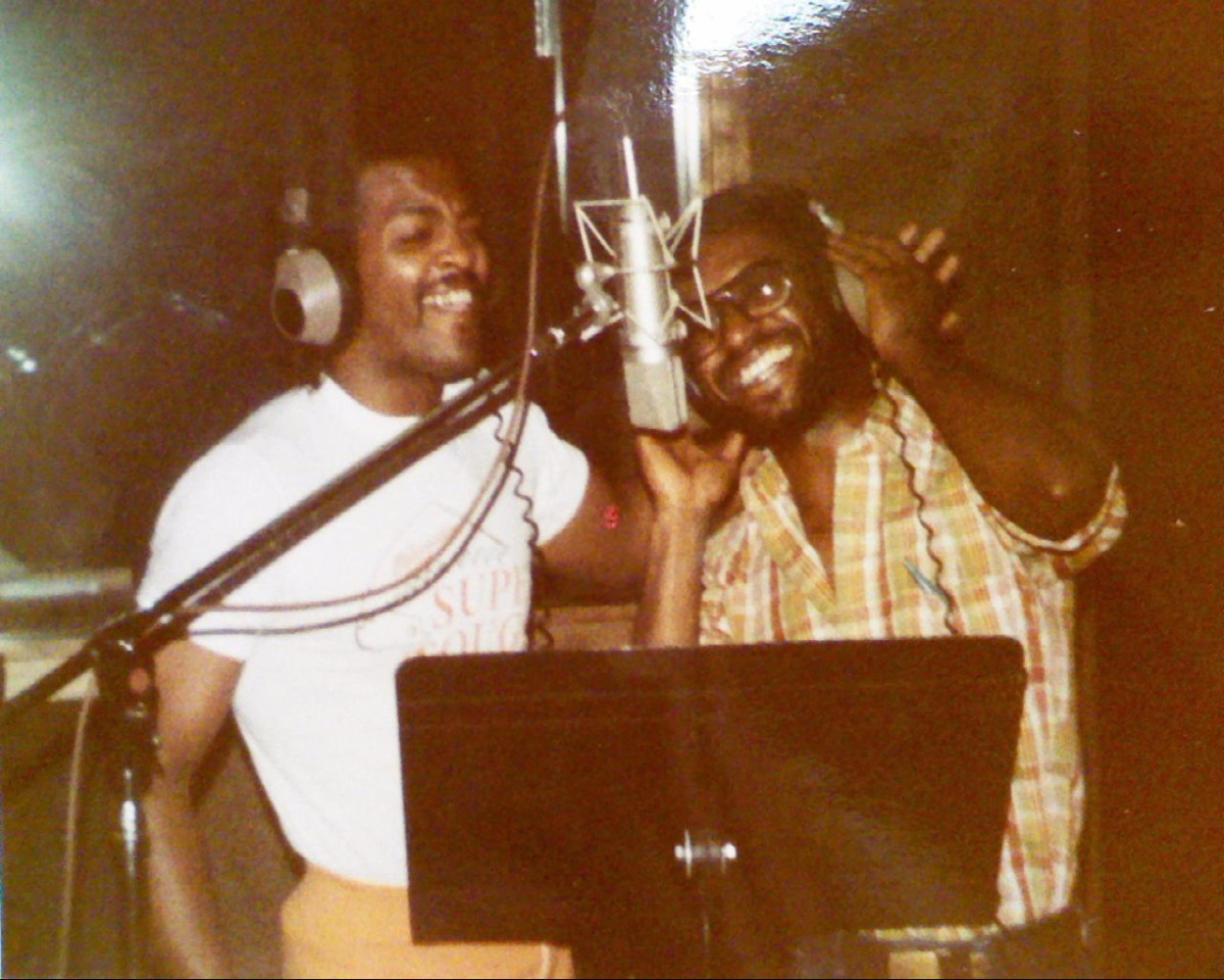 S.T.A.R.R. spent many long hours in Memphis State's, then state of the art, studio as they prepared to release their first album on the anticipated High Water label.  Shown here, left to right are S.T.A.R.R. Band members:  Napoleon Briggs, and Rob