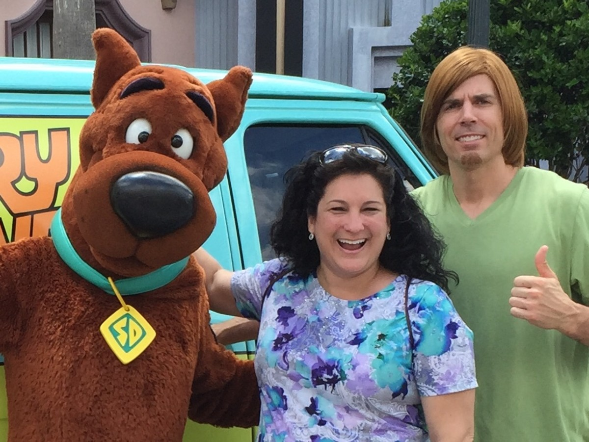 Zoinks! In 2015, I met my childhood cartoon favorites, Scooby-Doo and Shaggy, at Universal in Orlando, Florida.  We shared a Scooby snack and some laughs.