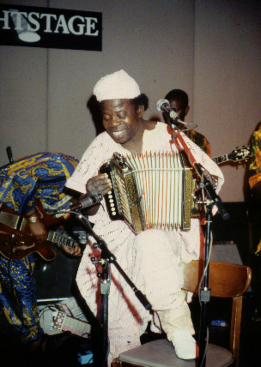 I.K Dairo performing with his trademark amplified accordion