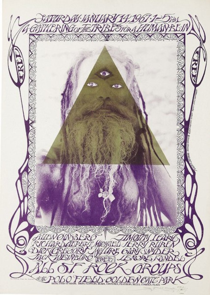 "Grateful Dead & Jefferson Airplane Allen Ginsberg & Timothy Leary ""Gathering of the Tribes"" Human Be-In Poster (1967) Poster Graphics by Stanley Mouse"