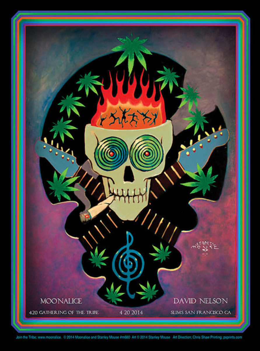 Moonalice, David Nelson 420 Gathering of the Tribe April 20, 2014 Slim's, San Francisco, CA  Poster Graphics by Stanley Mouse