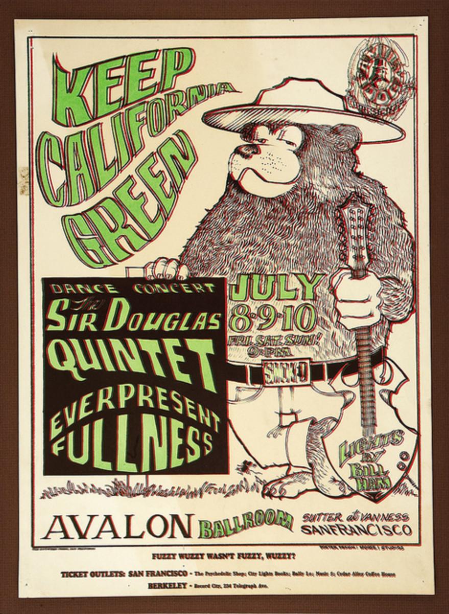 Sir Douglas Quintet, Everpresent Fullnes, Family Dog Concert Poster (1966) Poster Art by Stanley Mouse