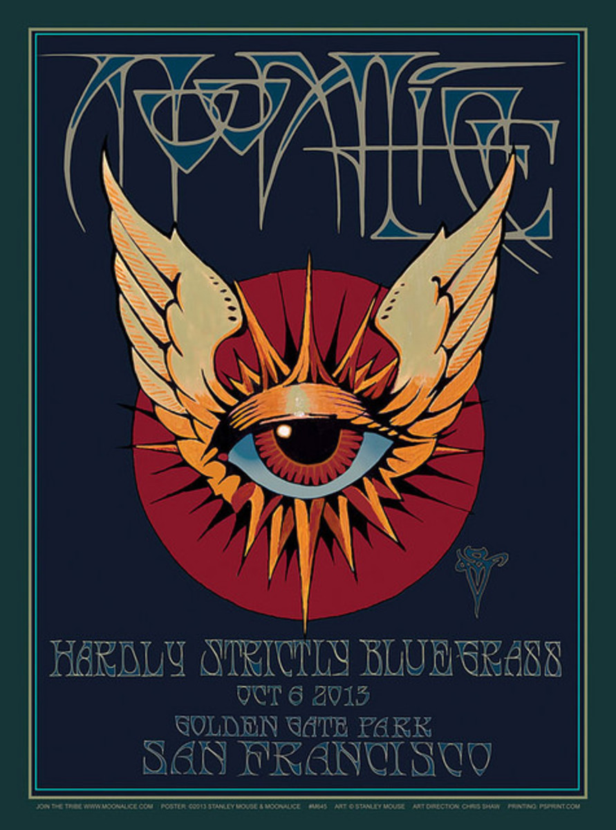 Moonalice  Hardly Strictly Bluegrass Golden Gate Park San Francisco California (2013)  Poster Graphics by Stanley Mouse