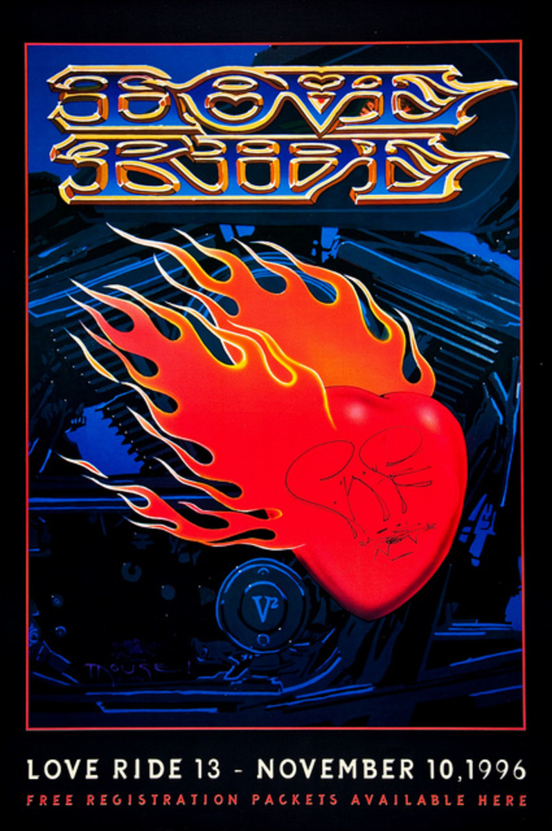 """Love Ride"" Charity Rally for Muscular Dystrophy (1996) Poster Graphics by Stanley Mouse"