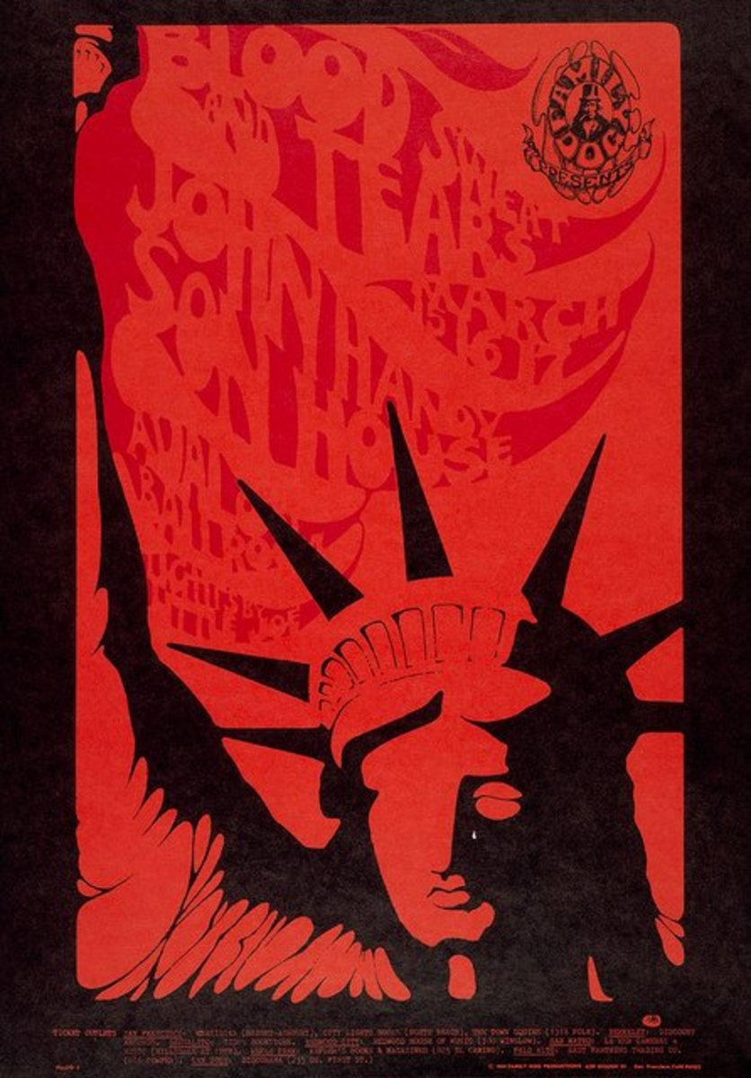 "Son House, Blood Sweat & Tears, John Handy Avalon Ballroom Mar 15, 1968 - Mar 17, 1968 Family Dog FD-110 ""Liberty""  Art by Stanley Mouse"