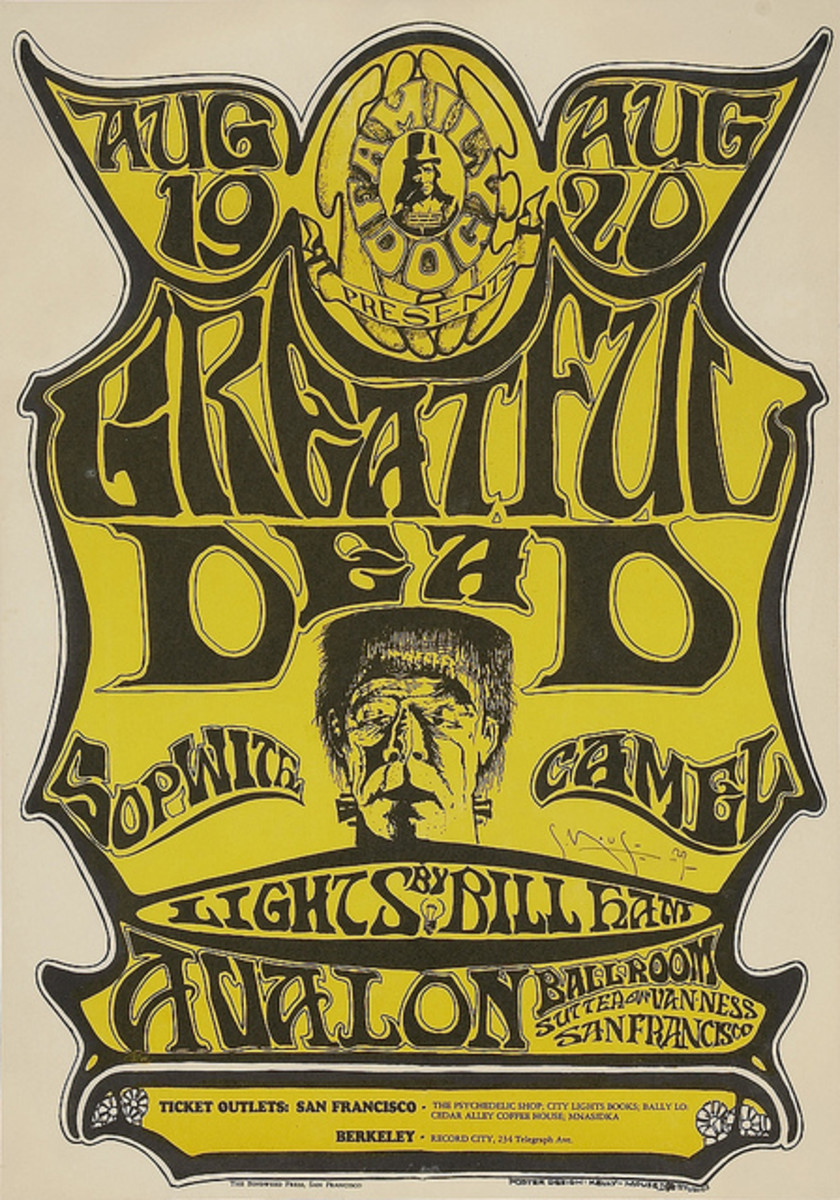 The Grateful Dead Sopwith Camel, Avalon Ballroom (1966) Poster Art by Stanley Mouse, Poster Hand Signed by Mouse - Grateful Dead Misspelled