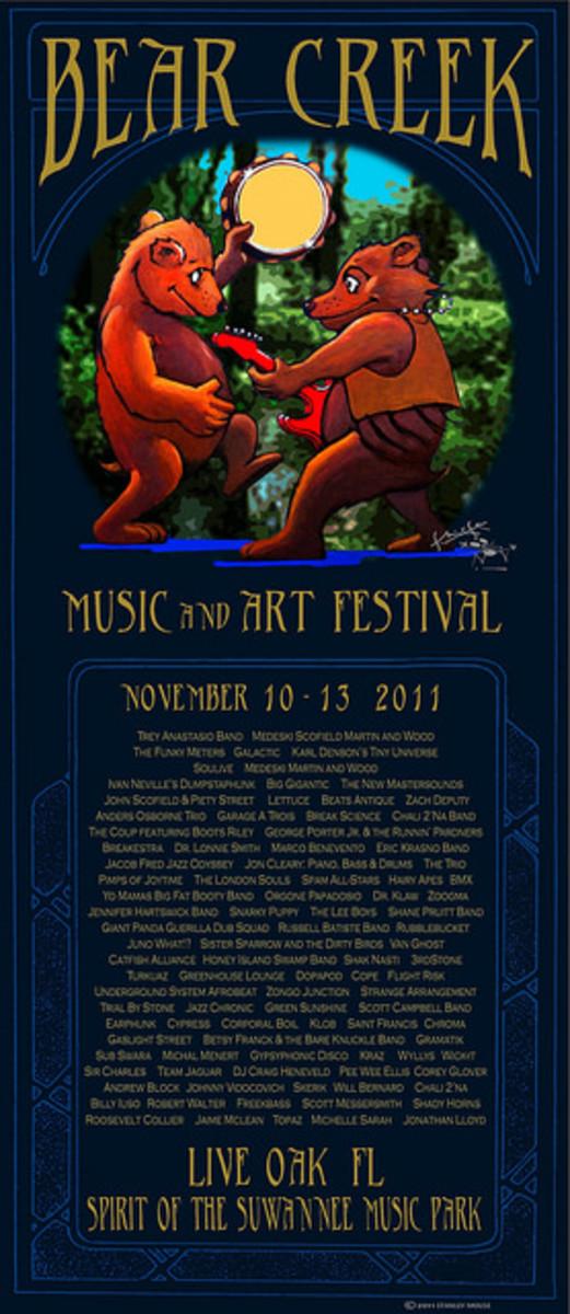 Bear Creek Music & Art Festival Suwanee Music Park Live Oak, Florida November 10-13  2011 Poster Graphics by Stanley Mouse